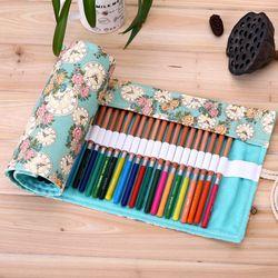36/48/72 Holes Pencil Case School Canvas Roll Pouch Makeup Comestic Brush Pen Storage pecncil box Estuches School penalty