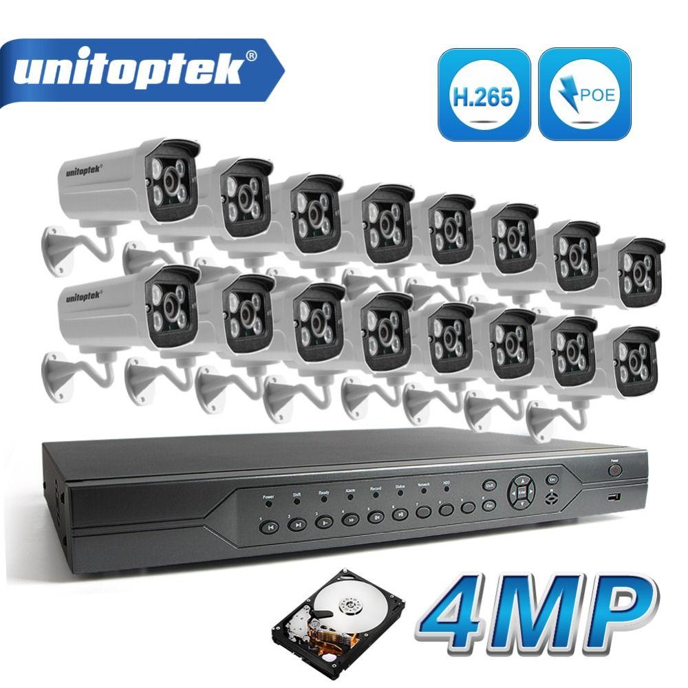 H.265 16Ch 4MP (2592*1520) IP PoE Video Sicherheit Überwachung Kamera System (16) wasserdichte Nachtsicht HD CCTV IP Kamera Kit