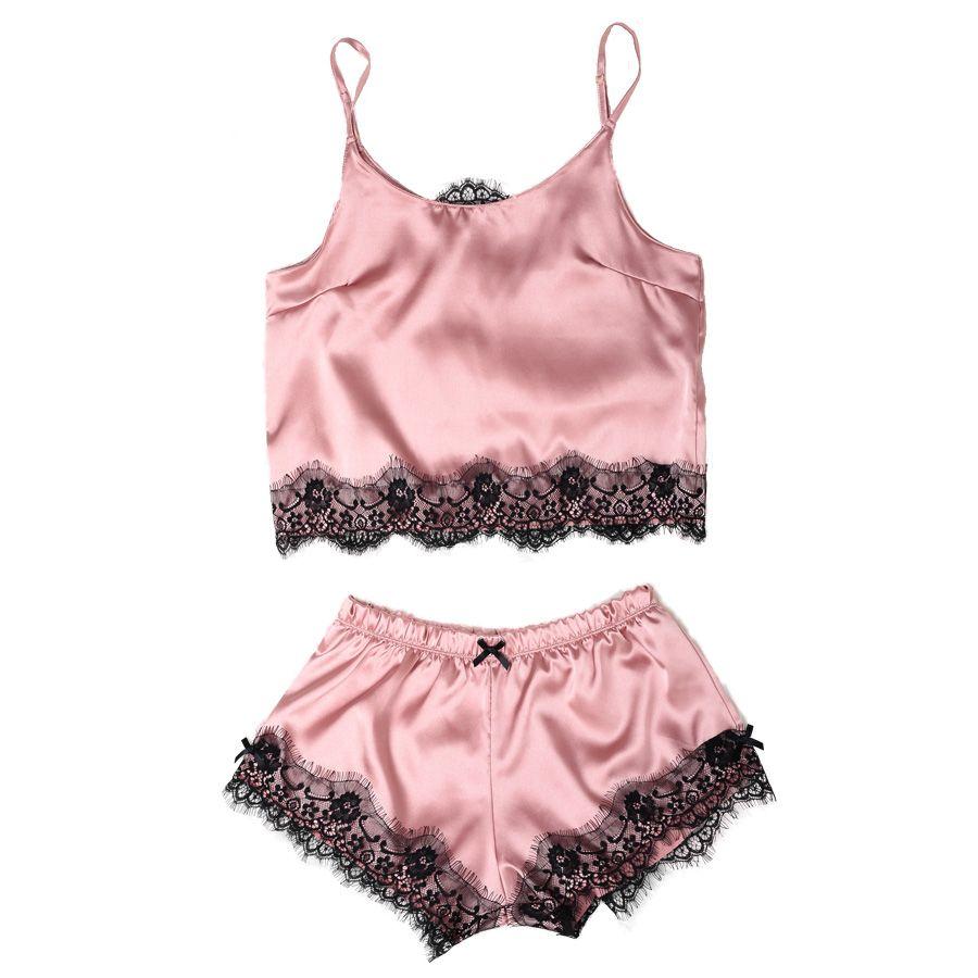 Femmes Satin Pyjama Ensemble De Courroie De Gaine Dentelle Applique Mignon Cami hauts et shorts En Soie comme Pyjama Ensemble Confortables Vêtements de Nuit