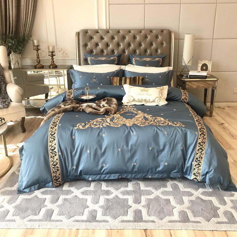 1000TC Ägyptischer Baumwolle Stickerei Luxus Bettwäsche Set Königin König größe Bett set Klassische Europa bettbezug bettwäsche Kissenbezug