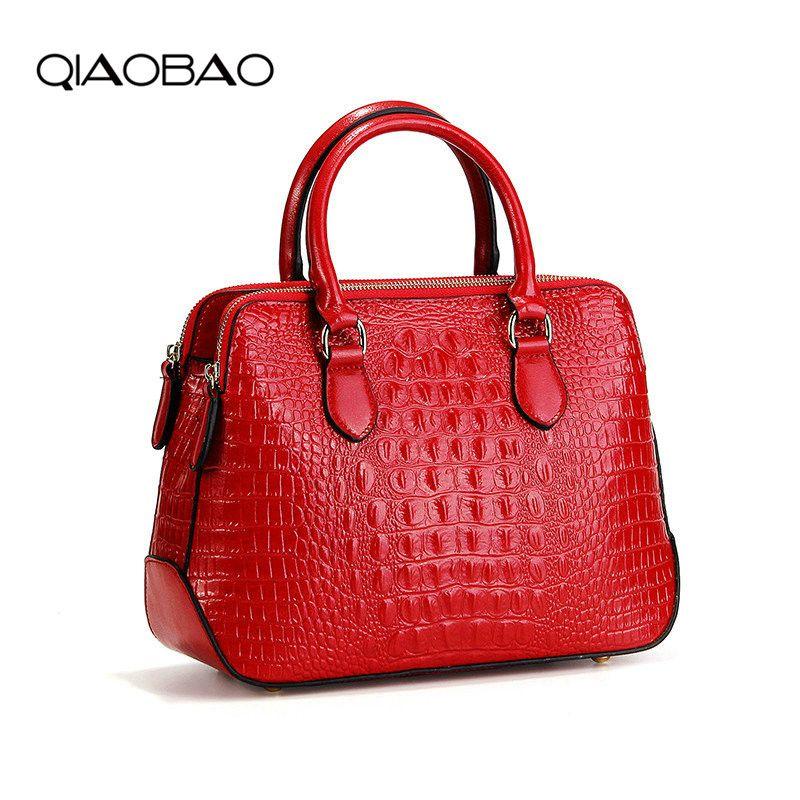 QIAOBAO 2018 New Genuine Leather handbags luxury crocodile pattern oil wax leather shoulder diagonal ladies Alligator