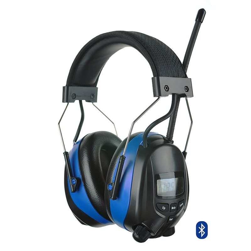 Adjustable Bluetooth Hearing Protection Shooting Ear Muff with Digital AM FM Radio NRR 25dB Electronic Noise Reduction Headphone