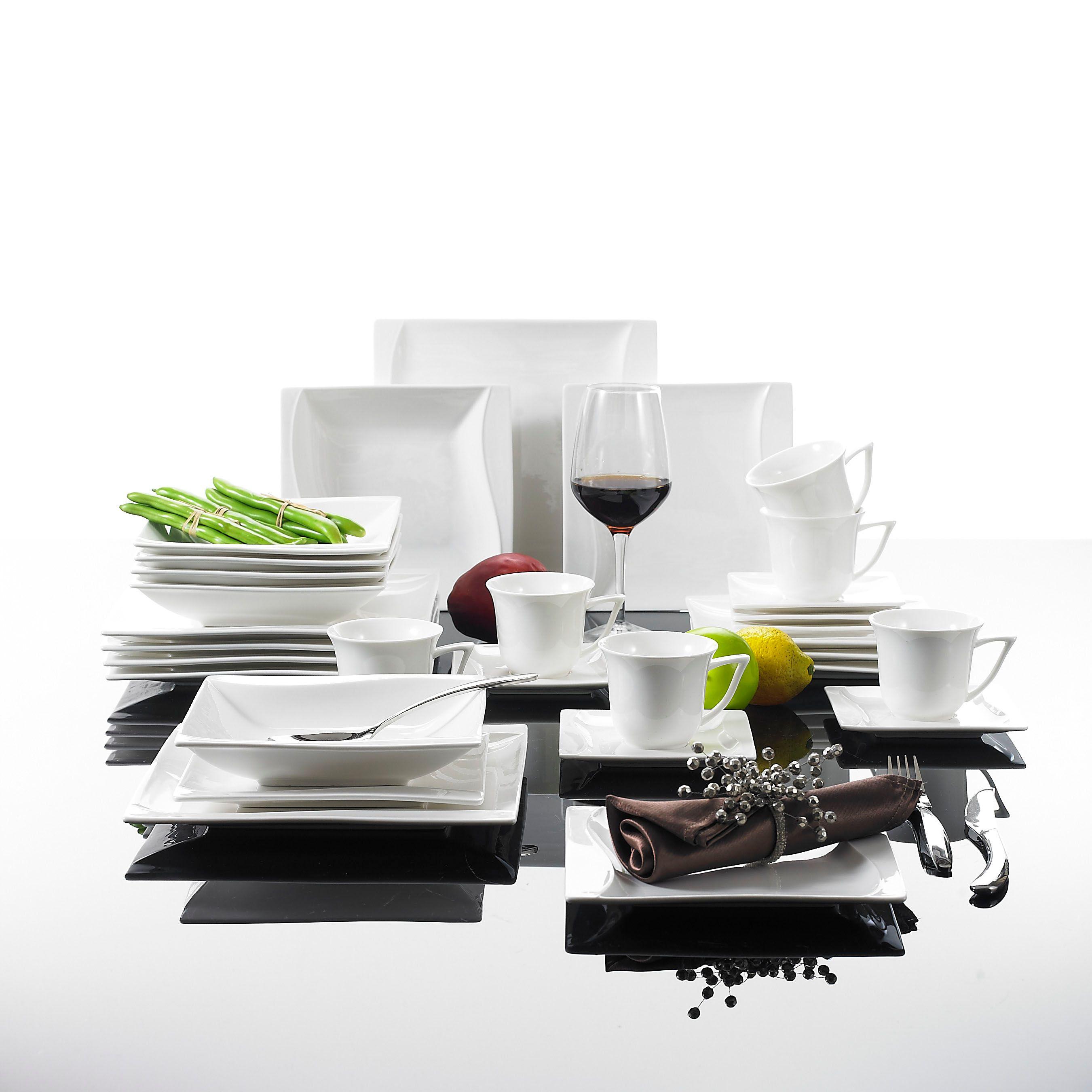 MALACASA Serie Carina 30 Stück Porzellan Abendessen Set mit 6 Tassen Untertassen Dessert Suppe Abendessen Platten Geschirr für 6 Person