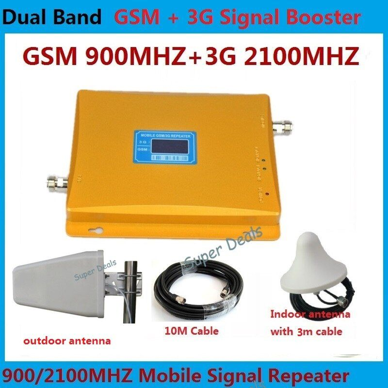 High Gain 2G 3G UMTS GSM Mobile Signal Repeater GSM 2G 900mhz 3G 2100mhz Dual Band Cellular Cell Phone Signal Booster Amplifier