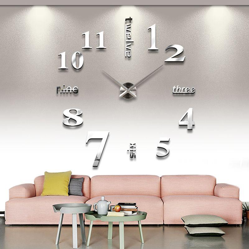 2019 salon maison décorer bricolage horloge murale acrylique EVA métal miroir horloge murale Super autocollant montres numériques horloges livraison gratuite