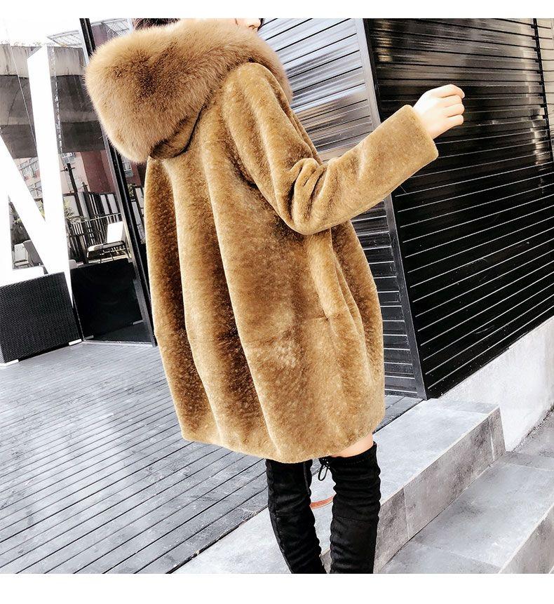 Luxus neue ankunft 2018 frau winter wolle mantel mit eine große fuchs pelz haube hut weibliche streetwear kleidung kamel plus größe xxl 2xl