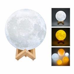 3D imprimir Luna lámpara Luna luz de la noche luz táctil sensor estante de madera USB recargable deor casa niños regalo Escritorio lámparas de mesa
