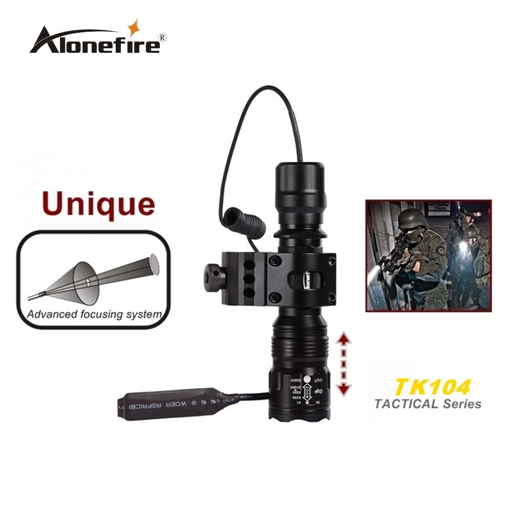Alonefire TK104 CREE L2 LED Tactical Zoom Gun Flashlight Pistol Handgun Airsoft Torch Light Lamp +Scope mount+Remote switch