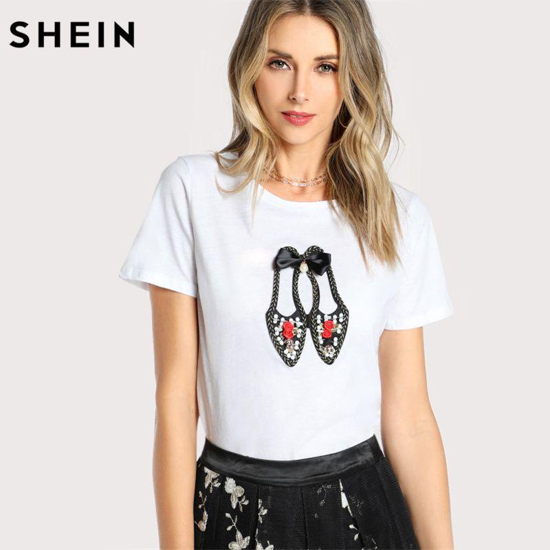 SHEIN Women Cotton T shirt New Fashion Womens Lovely Shoes Applique T-shirt White Short Sleeve Casual Women Top