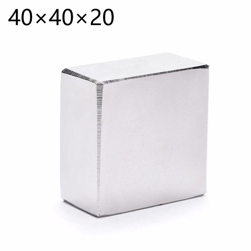 N52 2 pcs/lot Bloc 40x40x20mm Aimant Néodyme Super Strong Rare Earth aimants