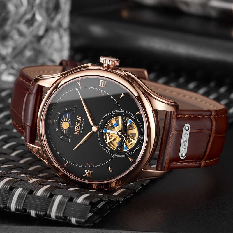 Nesun Tourbillon Automatische Mechanische Skeleton herren Uhren Luxus Marke Uhr Männer Wasserdichte relogio masculino uhr N9038-2