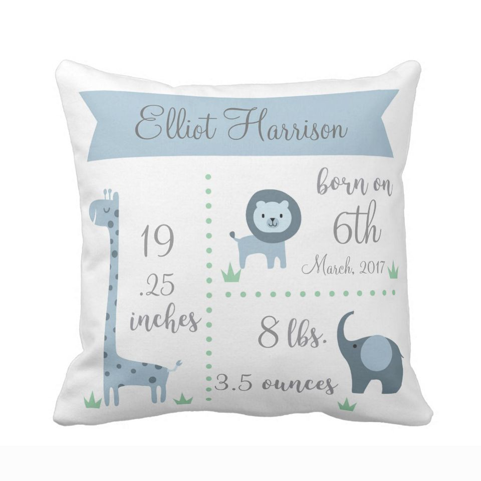Custom Baby Kids Pillow Case Cute Blue Jungle Animals Elephant Lion Throw Pillow Cover Boy Girl Birth Polyester Cushion Cover