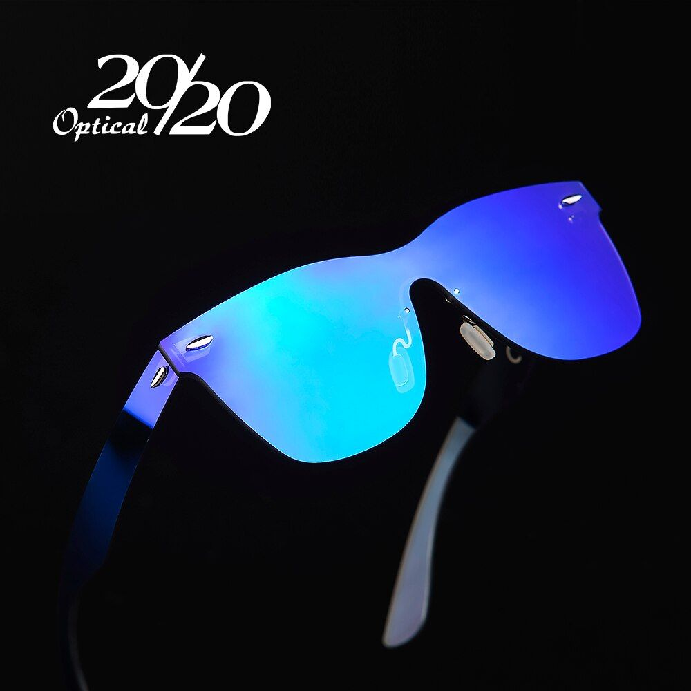 20/20 Brand Vintage Style Sunglasses Men Flat <font><b>Lens</b></font> Rimless Square Frame Women Sun Glasses Oculos Gafas PC1601