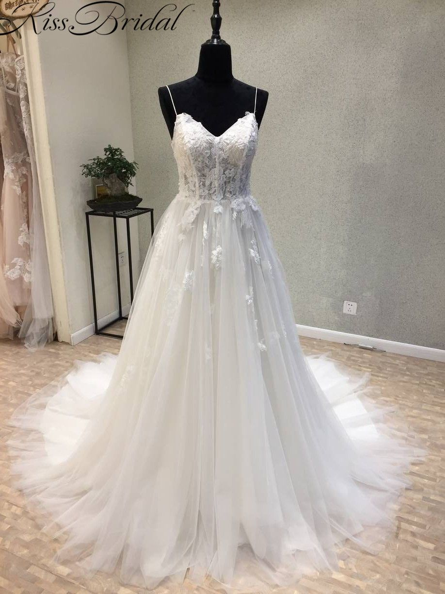 Vestidos de noiva New Long Wedding Dress 2018 Sweetheart Spaghetti Strap A-Line Court Train Appliques Tulle Bridal Gowns Lace Up