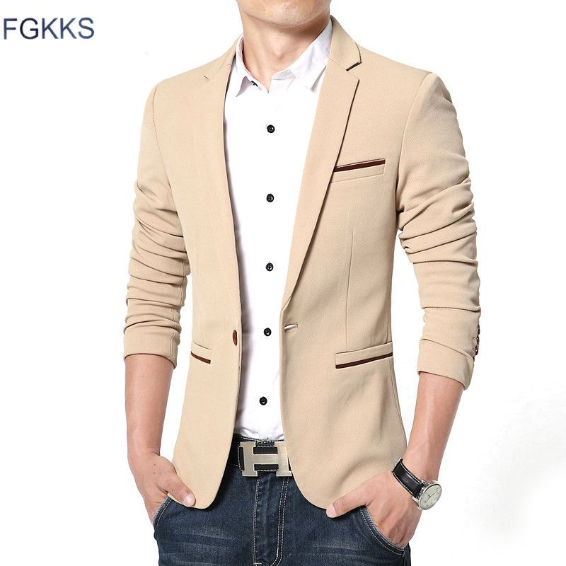 FGKKS New Arrival Luxury Men Blazer New Spring Fashion Brand High Quality Cotton Slim Fit Men Suit Terno <font><b>Masculino</b></font> Blazers Men
