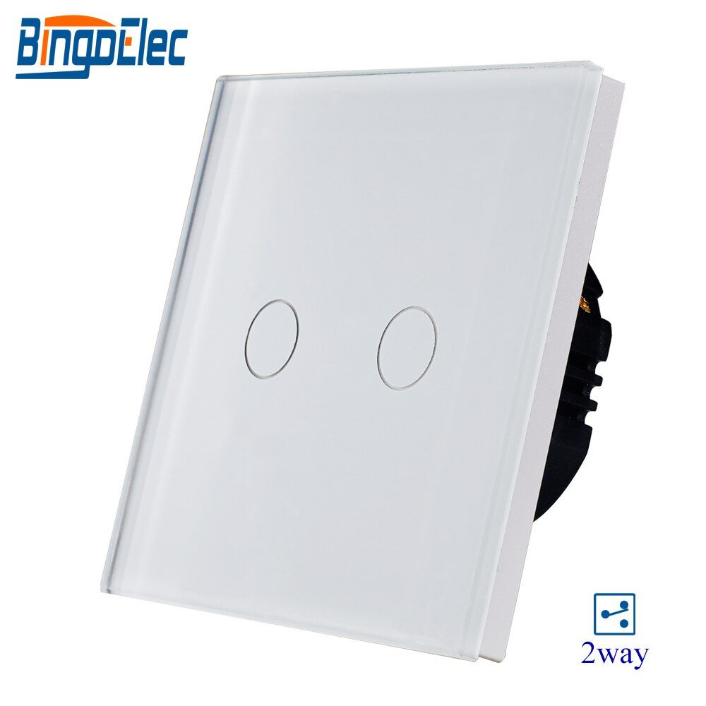 2gang 2way white crystal toughened glass panel touch switch,sensor light switch