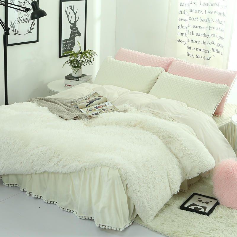 new Long hair Long Shaggy Winter Bedding set Cashmere duvet cover set bed skirt pillowcase&Camel Fleece thinken warm bedcloth