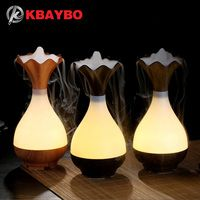 USB Air Humidifier Ultrasonic Aromatherapy Essential Oil diffuser Aroma LED Night Light Atomization Purifier Wood Vase