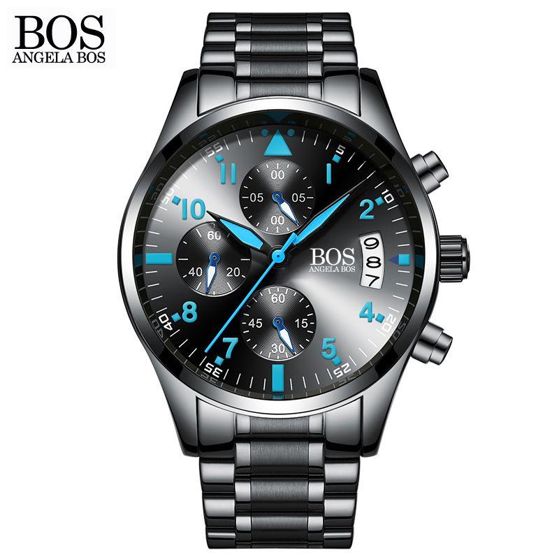 <font><b>ANGELA</b></font> BOS Chronograph Timer Fashion Watch Men Quartz-watch Luminous Calendar Date Stainless Steel Mens Watches Top Brand Luxury