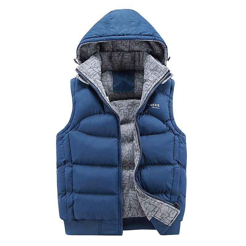 Fashion Sleeveless Jacket 2017 Men Thickening 100% Cotton Vest Hat Hooded Warm Vest Winter Waistcoat Men Casual Windbreaker