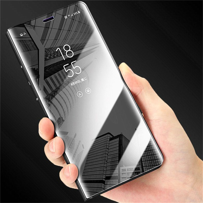 Luxury Flip Stand Clear View Smart Mirror Phone Cases for IPhone 6 6S 7 Plus Case Transparent 360 Cover for IPhone 8 Plus X Case