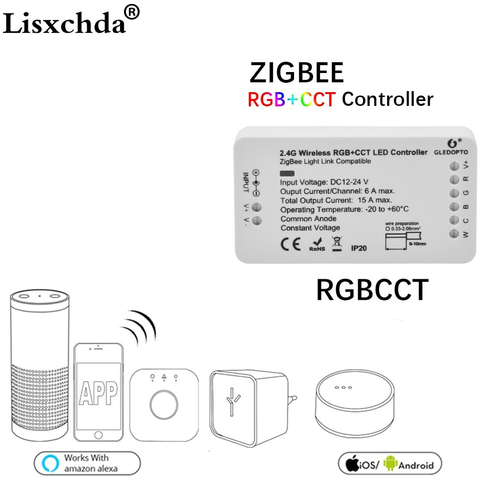 16million ZIGBEE Led Controller RGB+CCT WW/CW zigbee controller LED DC12-24V LED strip controller zll app controller RGBW rgb