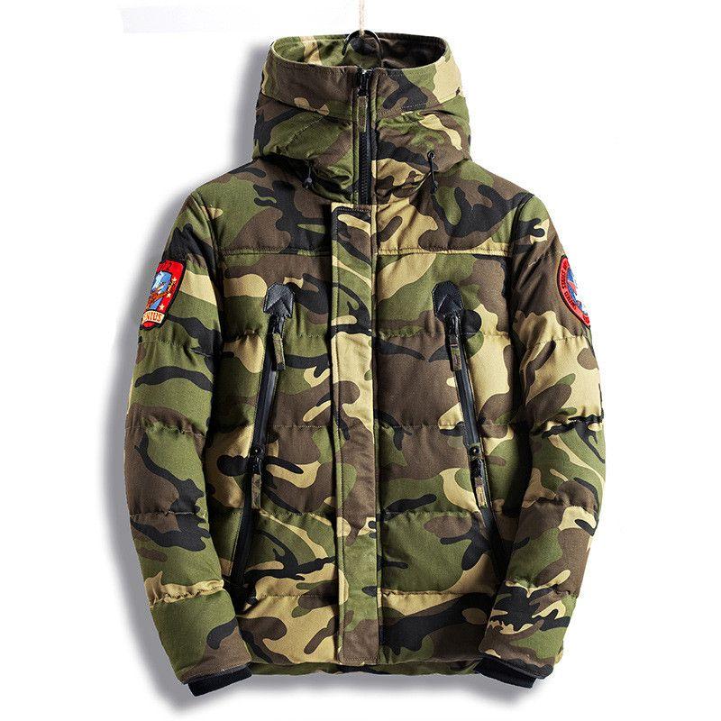MORUANCLE Mode männer Camouflage Winter Jacken Dicke Warme Camo Mäntel Für Mann Thermische Parkas Qualität Größe M-XXXL E0836
