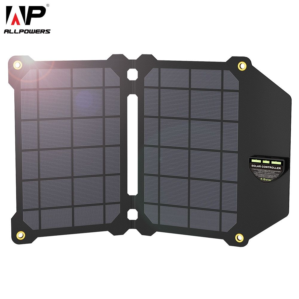 ALLPOWERS 14W Mobile Phone Charger Dual USB 5V 2.4A Solar Panel ETFE Solar Charger for Smartphones