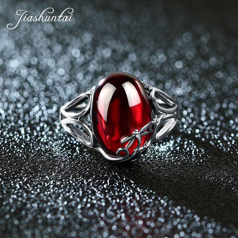 JIASHUNTAI Vintage 925 Sterling Silver Rings For Women Natural Semi-precious Stone Retro Thai Silver Jewelry Dragonfly Design