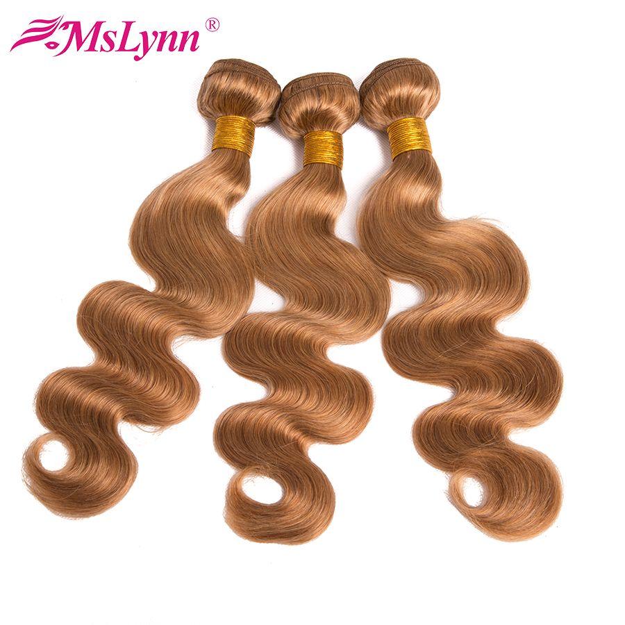 Paquets blonds paquets de vague de corps paquets brésiliens d'armure de cheveux #27 paquets blonds de miel Extension de cheveux humains Mslynn cheveux NonRemy