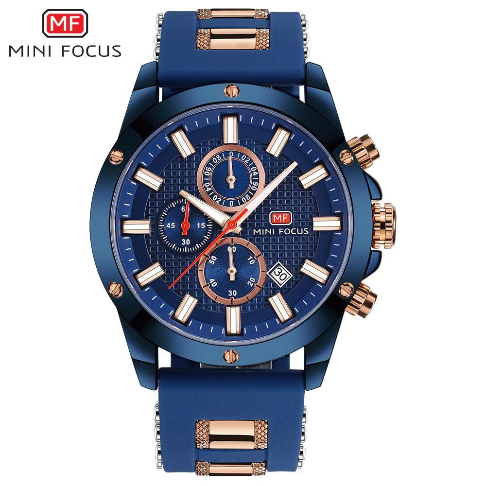 MINI FOCUS Top Brand Luxury Chronograph Watch Men Quartz Sports Watches Army Military Silicone Strap Wrist Watch Male Blue Clock