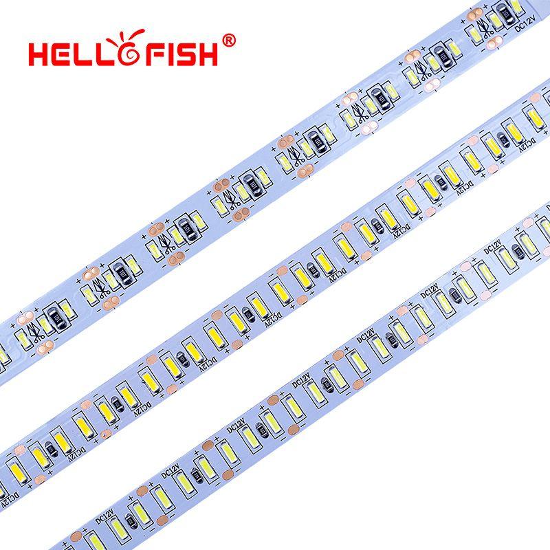 Hello рыбы 5 м 3014/4014 Светодиодные ленты 204 LED DC12V гибкие светодиодные Клейкие ленты Светодиодные ленты белый/теплый белый