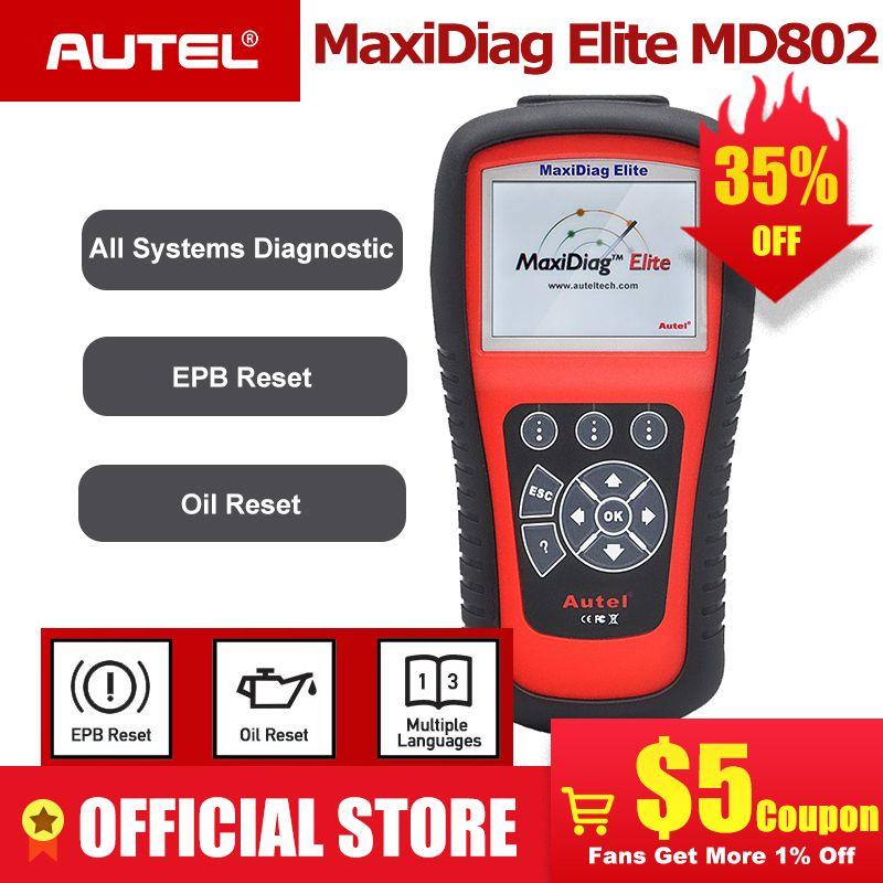 AUTEL MaxiDiag Elite MD802 OBD2 Scanner Alle System Auto Detektor OBDII Code Reader EPB Öl Reset OBD 2 Diagnose-Tool PK MD805