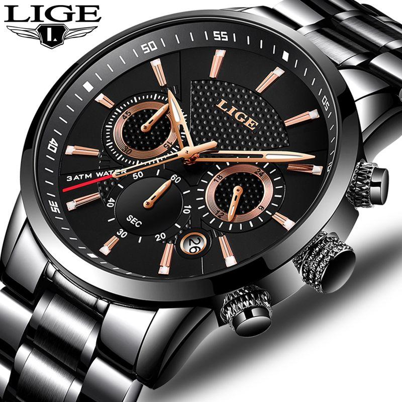 Relojes LIGE Men Watch Top Brand Luxury Casual Fashion Quartz Clock Stainless Steel Military Waterproof Watchs Relogio Masculino