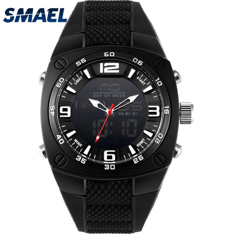 SMAEL New Men Analog Digital Fashion Military Wristwatches Waterproof Sports Watches Quartz Alarm Watch Dive relojes WS1008