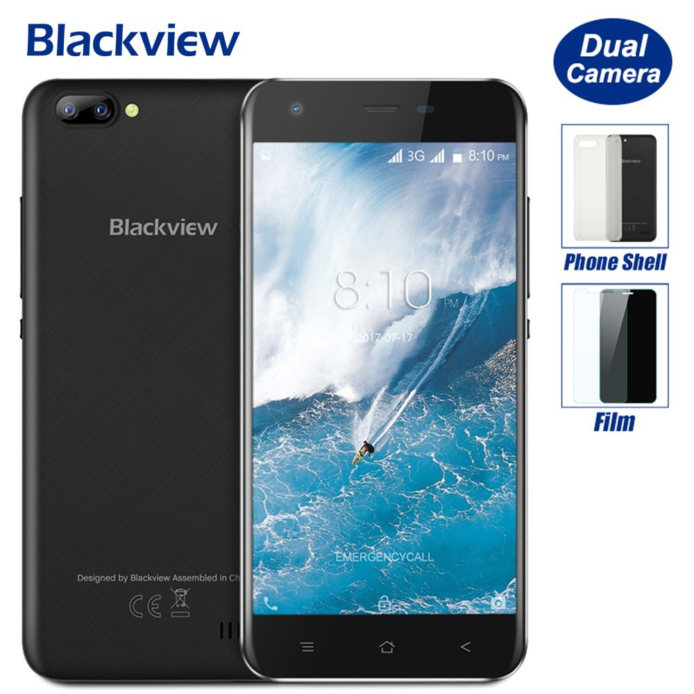 Blackview A7 5.0 inch HD Mobile Phone Android 7.0 MTK6580A Quad Core 1GB RAM 8GB ROM 5MP Cam Dual Rear Cameras 2800mAh Battery