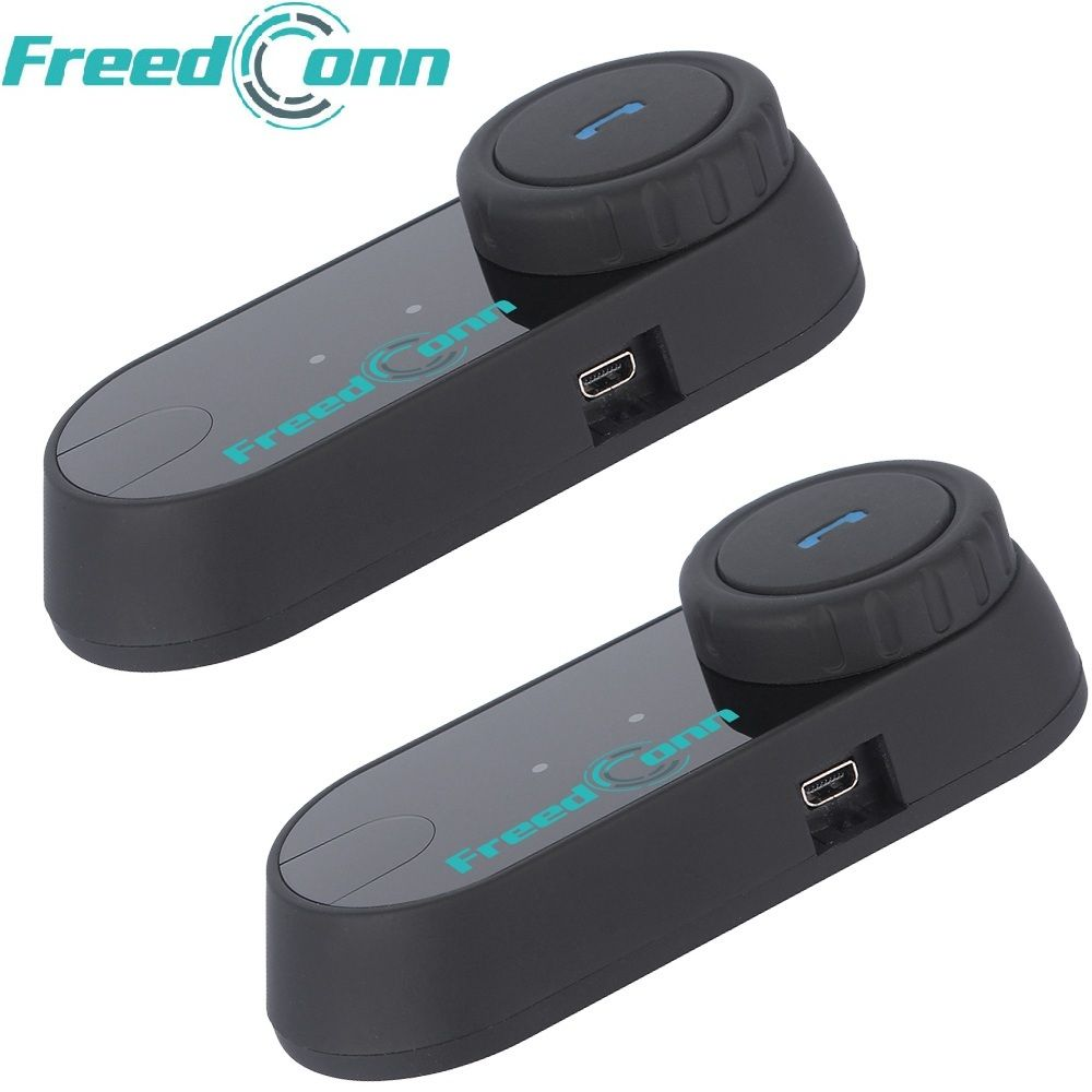 2pcs FreedConn Bluetooth Motorcycle Helmet Intercom T-COM FM Interphone Headset+Soft Microphone for Full Face Helmet