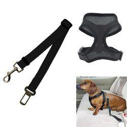 1 unid perro cinturón de seguridad del coche Auto Pet cinturón de seguridad del vehículo gato vida Correa arnés Collar Set envío mano ajustable