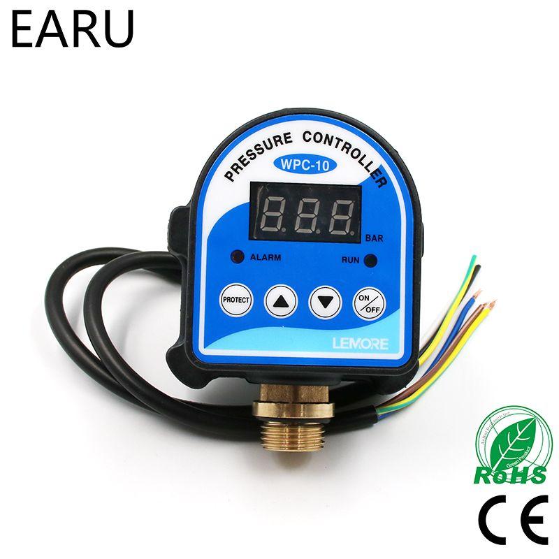 1pc WPC-10 numérique interrupteur de pression d'eau affichage numérique WPC 10 contrôleur de pression électronique pour pompe à eau avec adaptateur G1/2