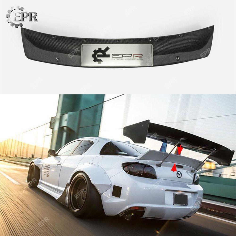 Für Mazda RX8 SE3P RB Stil Carbon Fiber Hinten Entenschnabel Spoiler Tuning Trim Auto Styling Für RX8 SE3P Carbon Hinten stamm Flügel Lip