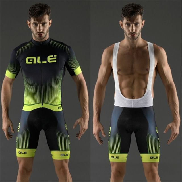 2017 ALE Team Ropa Ciclismo Bicycle Clothing Suit Summer Short Sleeve Quick Dry Cycling Jersey Bike Clothes Bib Set