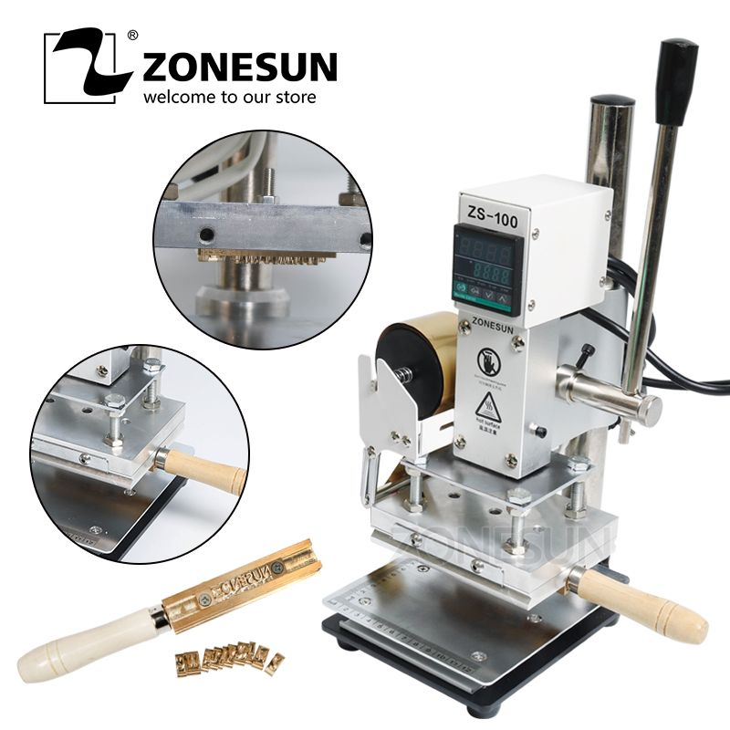 ZONESUN New Embossing machine Manual Leather Paper Wood Machine With Measure Line Letters Hot Foil Stamping Machine