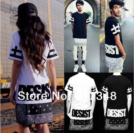 2014 New Hip Hop Tee Shirt Cease Desist Paisley Bandana Print Graphic Unisex T Shirt Side Zipper Extended Women and Men T-Shirt
