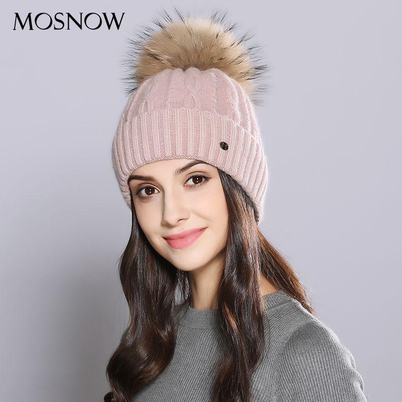 MOSNOW Woman Winter Hats Wool Raccoon Fur Pom Pom Stripe 2017 Autumn Winter Women'S Knitted Hat Female Skullies Beanies  #MZ726B