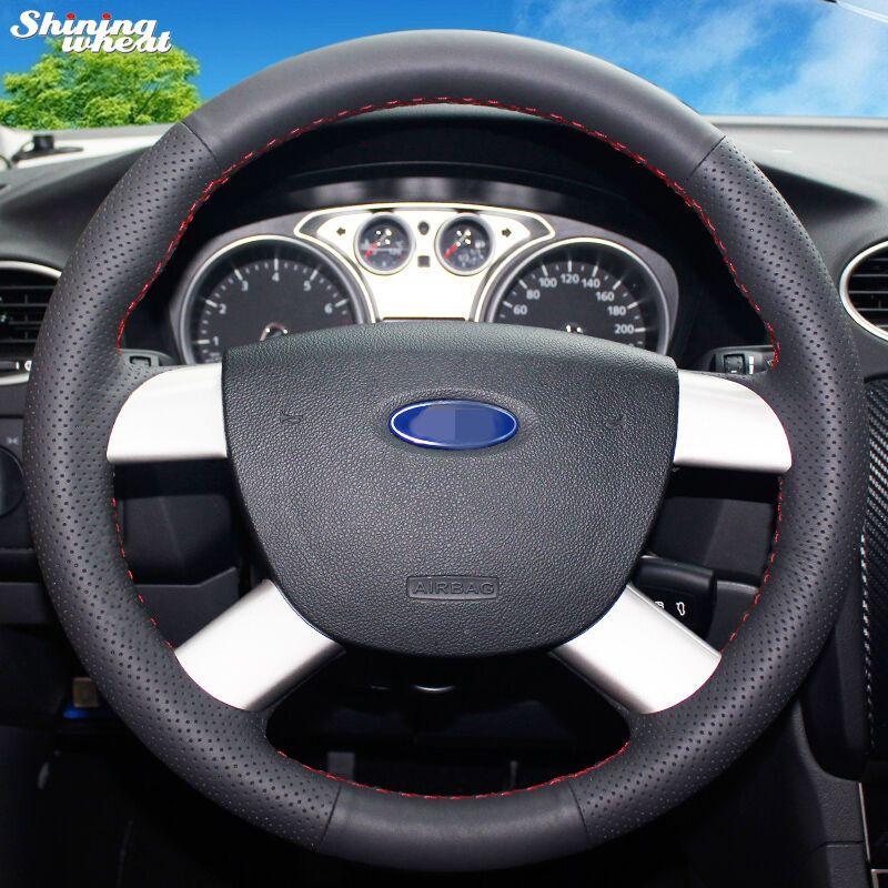 Couvre-volant de voiture en cuir noir cousu à la main brillant pour Ford Kuga 2008-2011 Focus 2