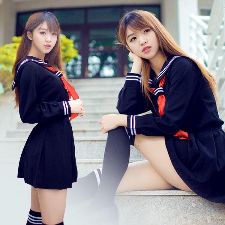Japonés/Coreano Hell Girl Enma Ai Cosplay Uniformes Escolares Linda Chica Traje de Marinero Estudiante JK Top + Dress + Tie Conjuntos de Ropa