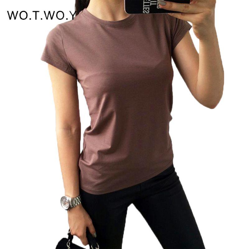 Haute qualité 18 couleur S-3XL plaine T-shirt femmes coton élastique de base T-shirts décontracté hauts à manches courtes T-shirt femmes 002