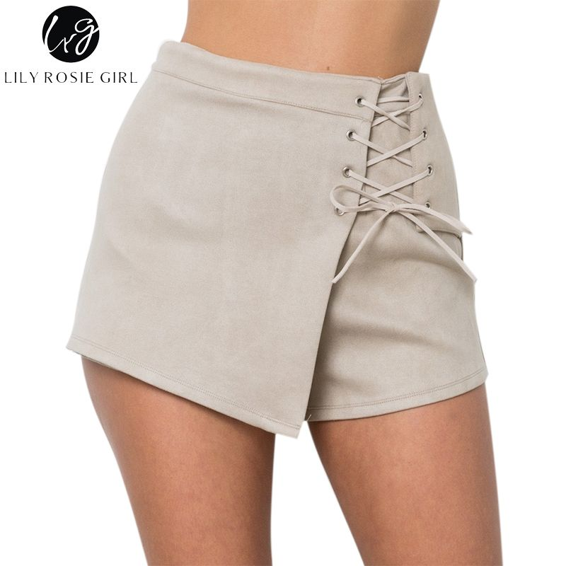 Lily Rosie Girl Beige Lace Up Suede Leather Casual Shorts Women Autumn Winter Black Sexy High Waist Shorts <font><b>Mujer</b></font> Ladies Shorts