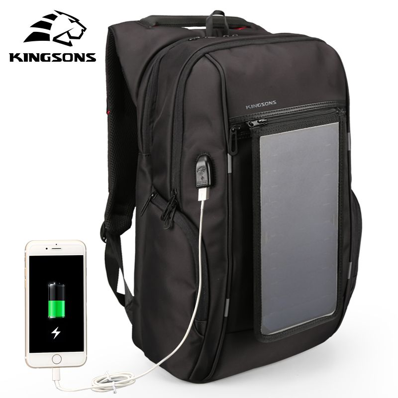 Kingsons Solar Panel Backpacks 15.6 inches Convenience Charging Laptop Bags for Travel Solar Charger Daypacks