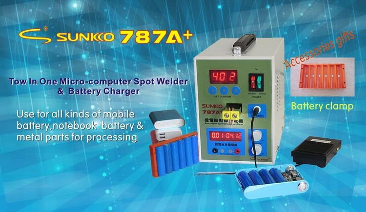 220V New LED Pulse Battery Spot welder 787A+ Spot welding Machine with LED light+Nickel Plated strip +Battery Clamp